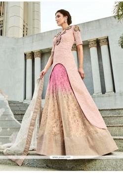 Fabulous Net Pink A Line Lehenga Choli