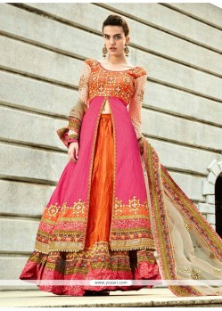 Pretty Hot Pink And Orange A Line Lehenga Choli