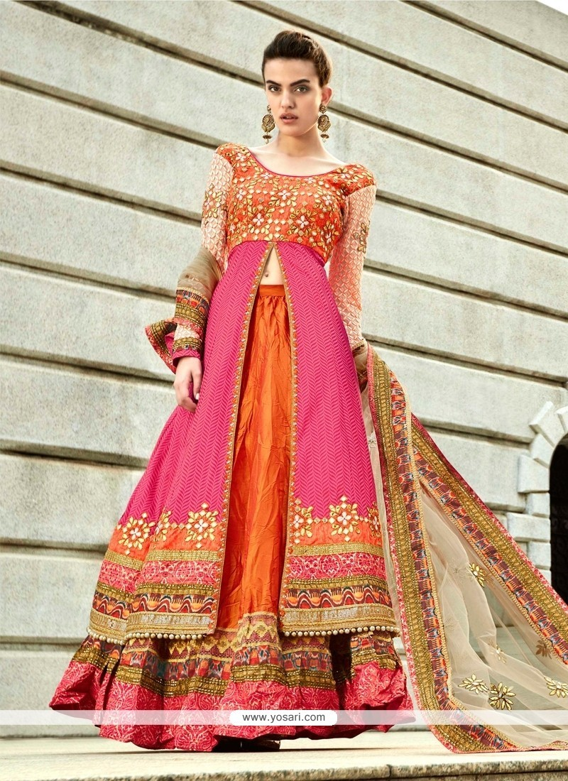 Pretty Hot Pink And Orange A Line Lehenga Choli
