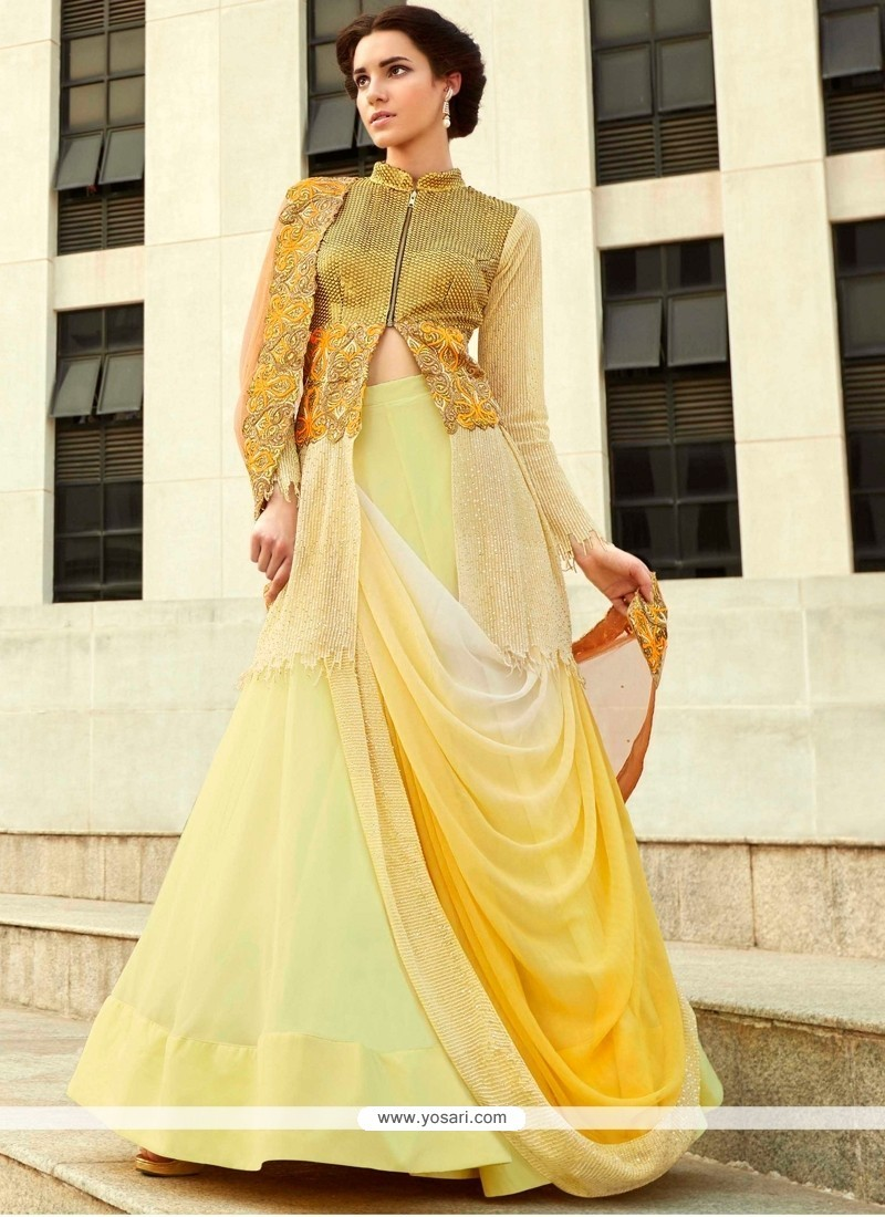 Beckoning Georgette Embroidered Work A Line Lehenga Choli