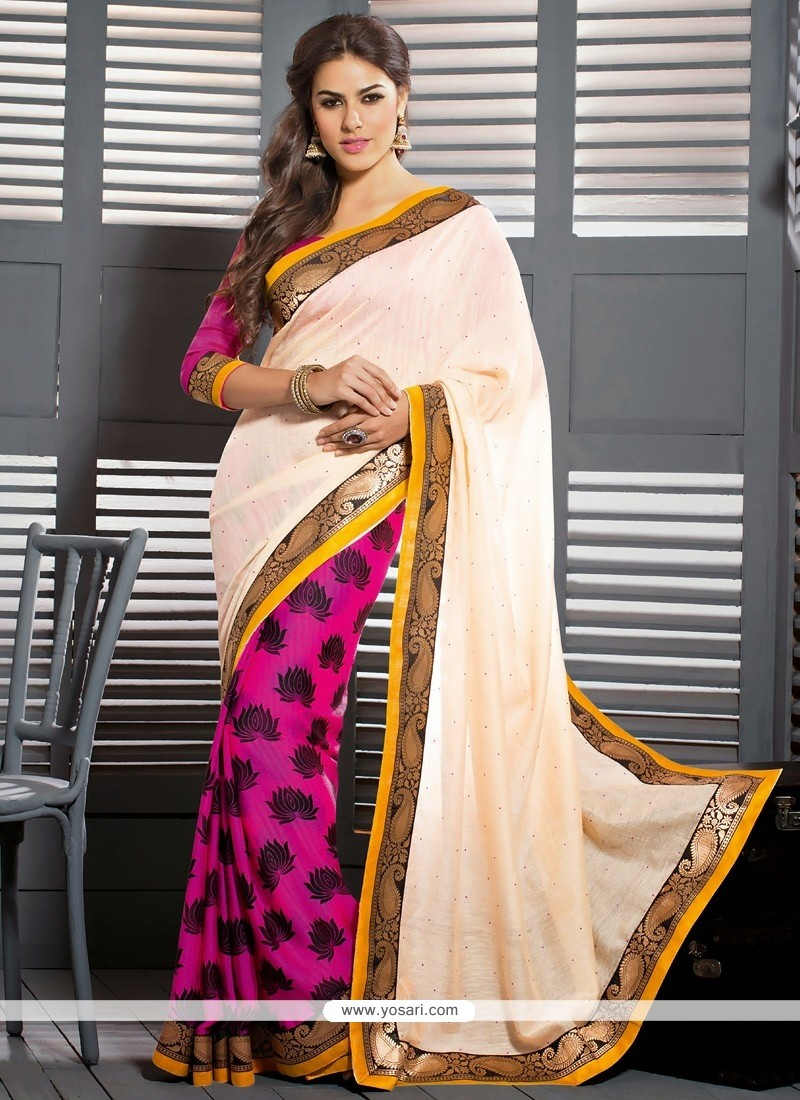 Perfect Cream And Pink Art Silk Casual Saree