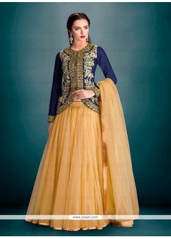 Prominent Embroidered Work Blue Net A Line Lehenga Choli