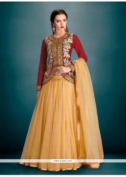 Modern Maroon Banglori Silk A Line Lehenga Choli