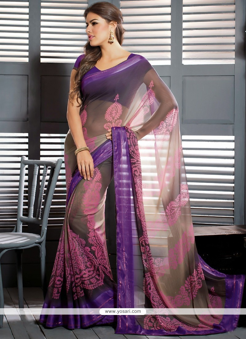 Brown Shaded Chiffon Designer Saree