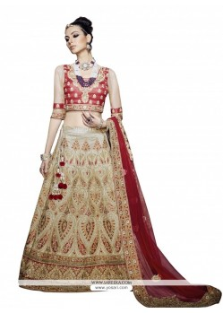 Sonorous Beige And Red Embroidered Work Net A Line Lehenga Choli