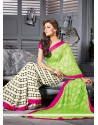 Green And Cream Georgette Designer Saree