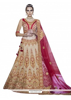 Haute Georgette Beige And Pink A Line Lehenga Choli