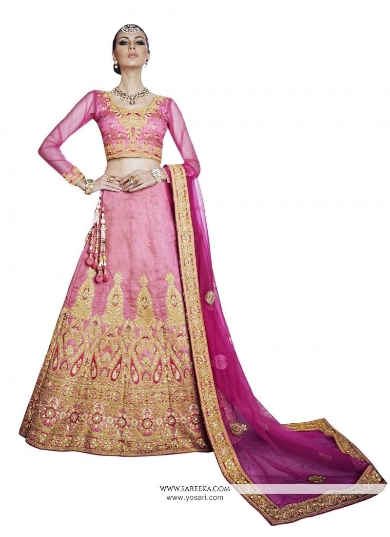 Alluring Pink Embroidered Work A Line Lehenga Choli
