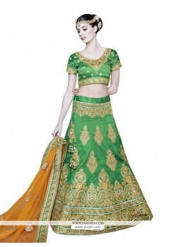 Prodigious Net Patch Border Work A Line Lehenga Choli