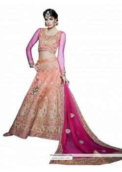 Hot Pink And Orange Resham Work A Line Lehenga Choli
