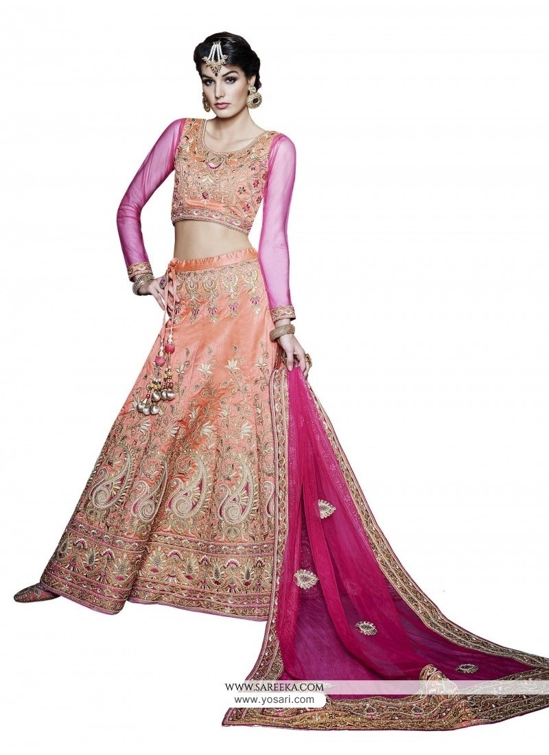 Hot Pink And Orange Resham Work A Line Lehenga Choli