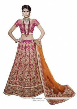 Haute Embroidered Work Net A Line Lehenga Choli