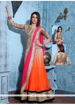 Thrilling Net Patch Border Work A Line Lehenga Choli