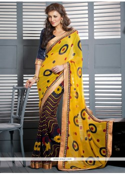 Yellow And Blue Georgette Casual Saree