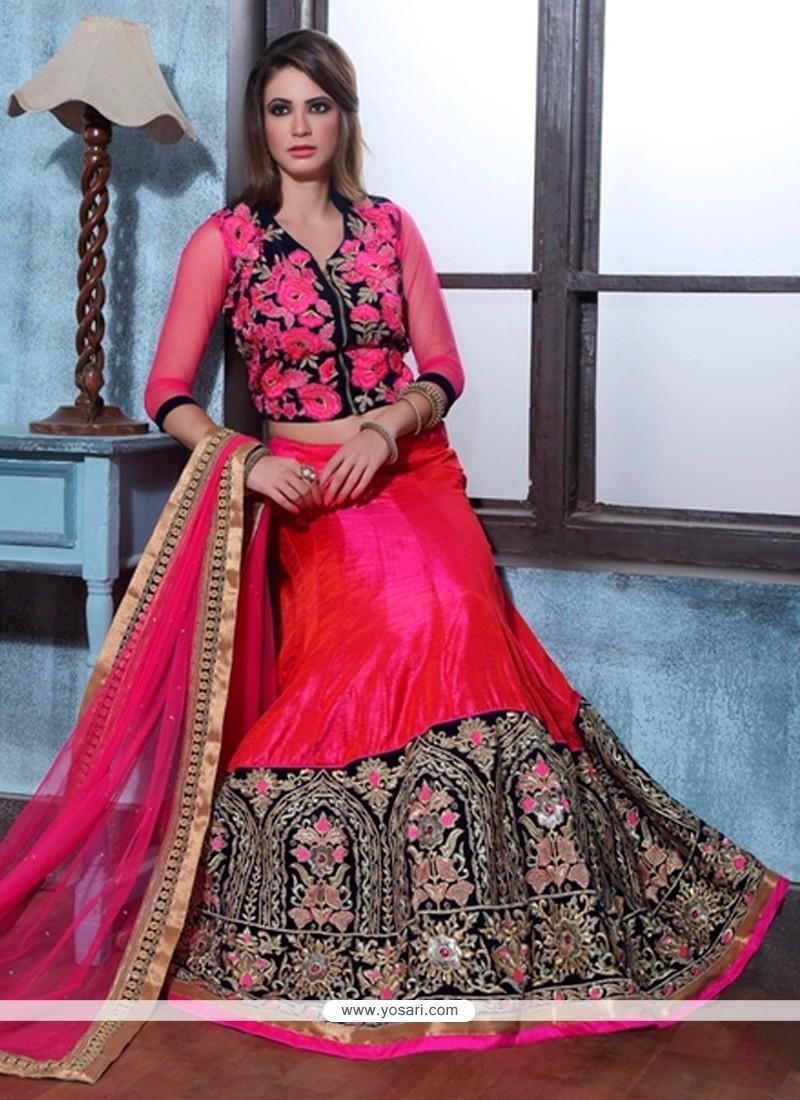 Jazzy Embroidered Work Hot Pink A Line Lehenga Choli