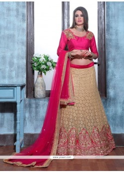 Stupendous Net Beige And Hot Pink Patch Border Work A Line Lehenga Choli