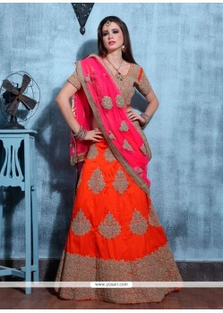Groovy Patch Border Work Orange Net A Line Lehenga Choli
