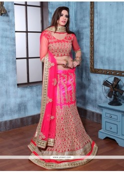 Resplendent Hot Pink Embroidered Work Banglori Silk A Line Lehenga Choli
