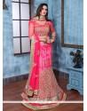 Resplendent Hot Pink Embroidered Work Banglori Silk A Line Lehenga Choli