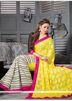 Yellow And Cream Georgette Party Wear Saree