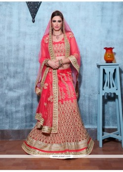 Flawless Red Banglori Silk A Line Lehenga Choli