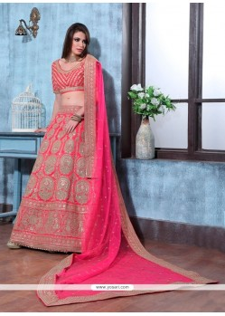 Fine Patch Border Work Net A Line Lehenga Choli
