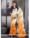 Cream And Orange Shaded Satin Casual Saree