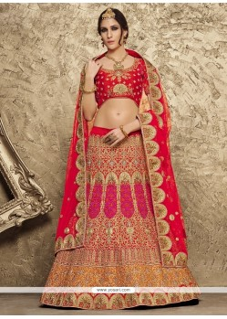 Snazzy Embroidered Work Red A Line Lehenga Choli