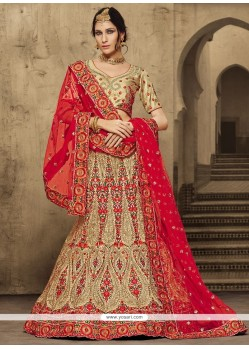 Customary Gold And Red Silk A Line Lehenga Choli