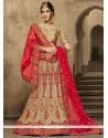 Customary Gold And Red Silk A Line Lehenga Choli