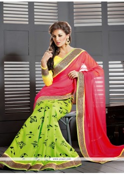 Pink And Green Georgette Casual Saree