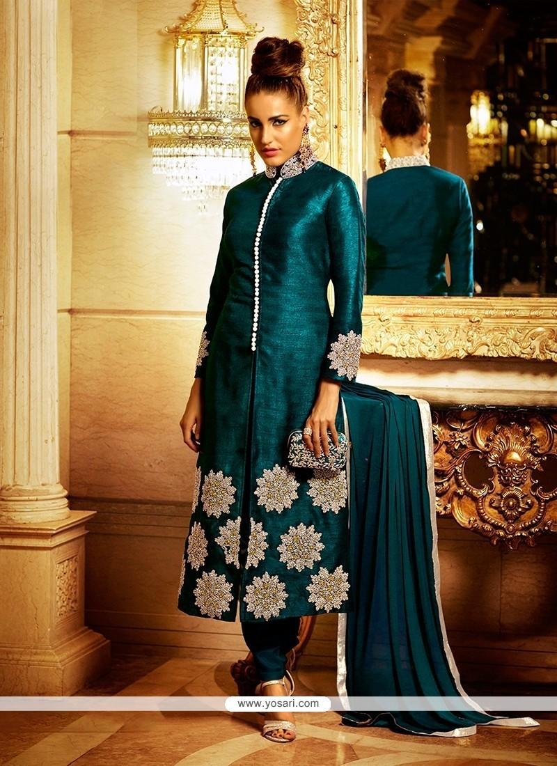 Flattering Bhagalpuri Silk Teal Lace Work Churidar Designer Suit