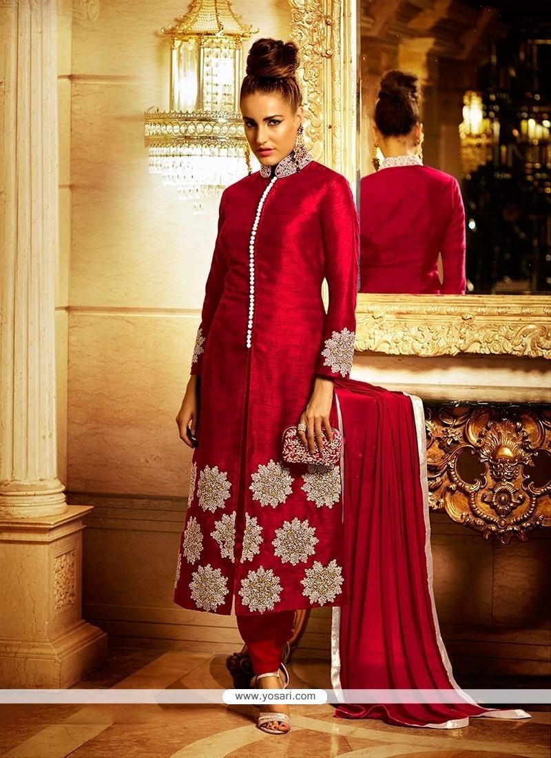 Baronial Maroon Embroidered Work Bhagalpuri Silk Churidar Designer Suit