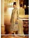 Girlish Embroidered Work Beige Churidar Designer Suit