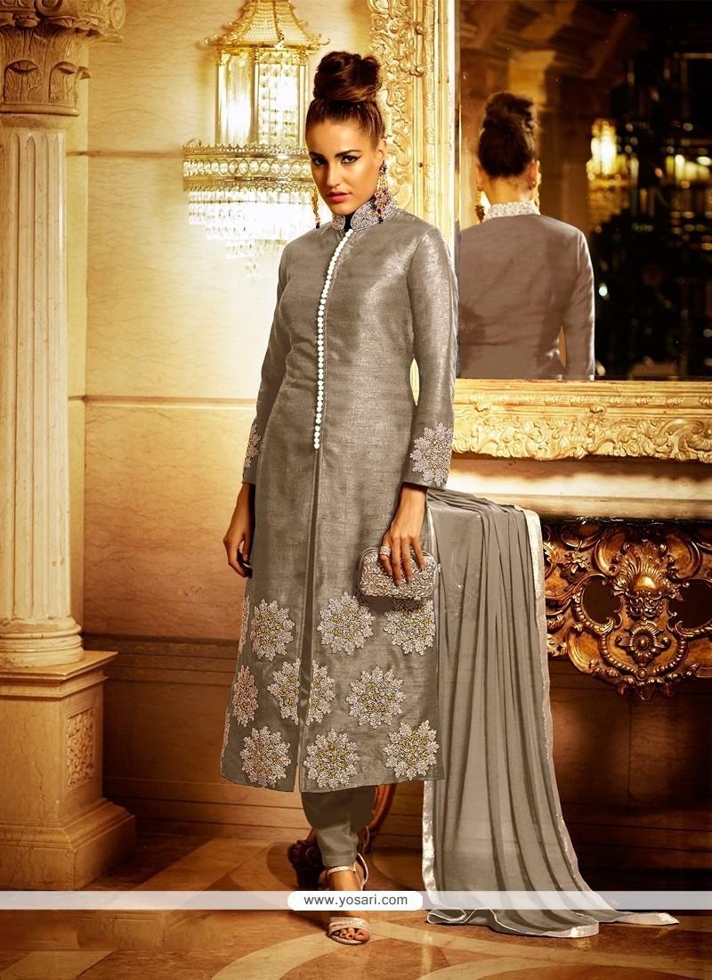 Royal Bhagalpuri Silk Embroidered Work Churidar Designer Suit