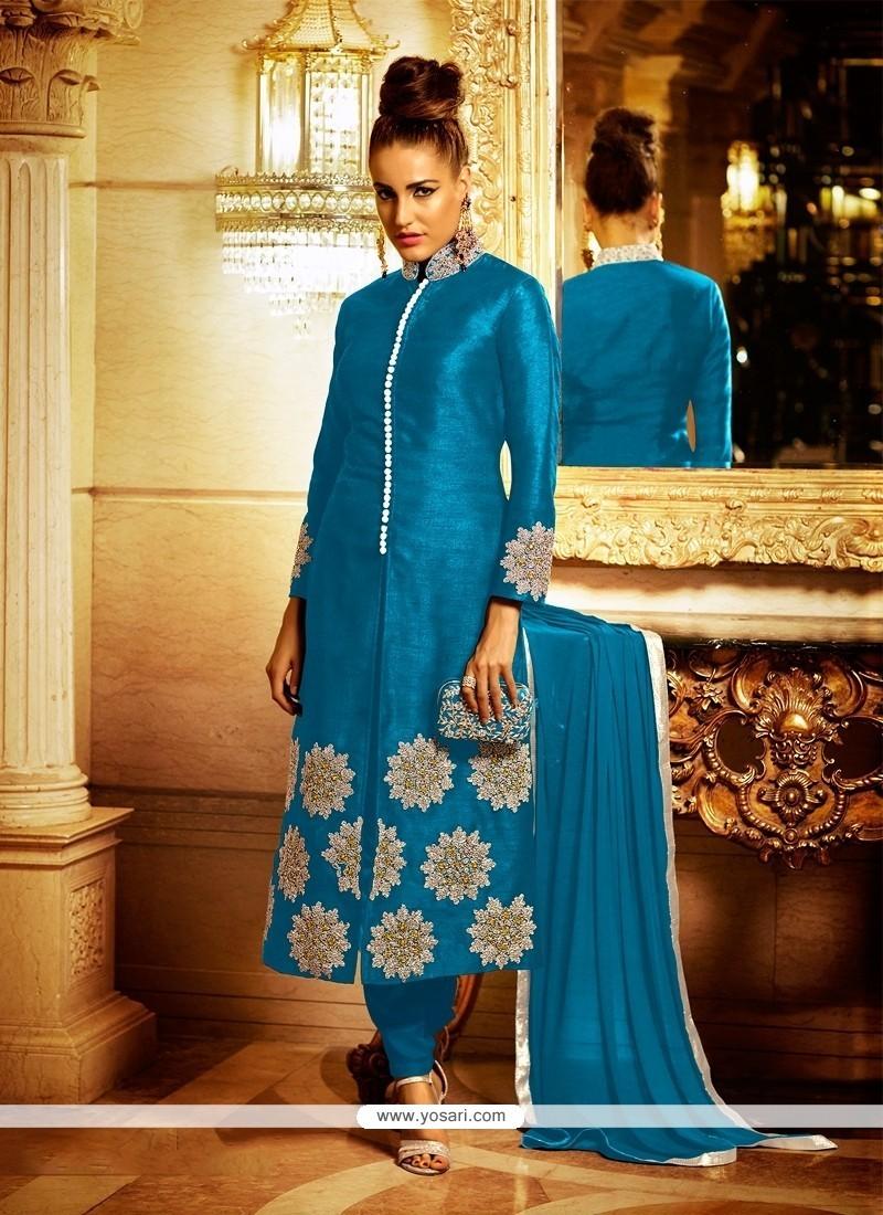 Arresting Blue Churidar Designer Suit