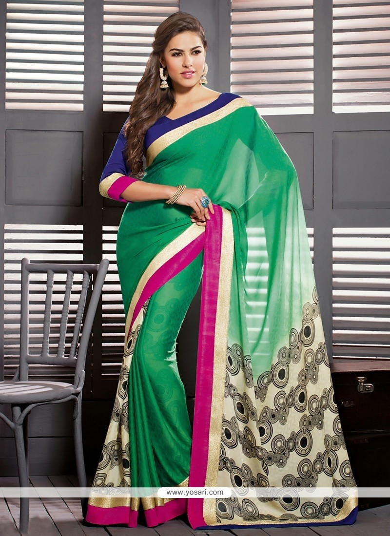 Green And Cream Shaded Satin Party Wear Saree