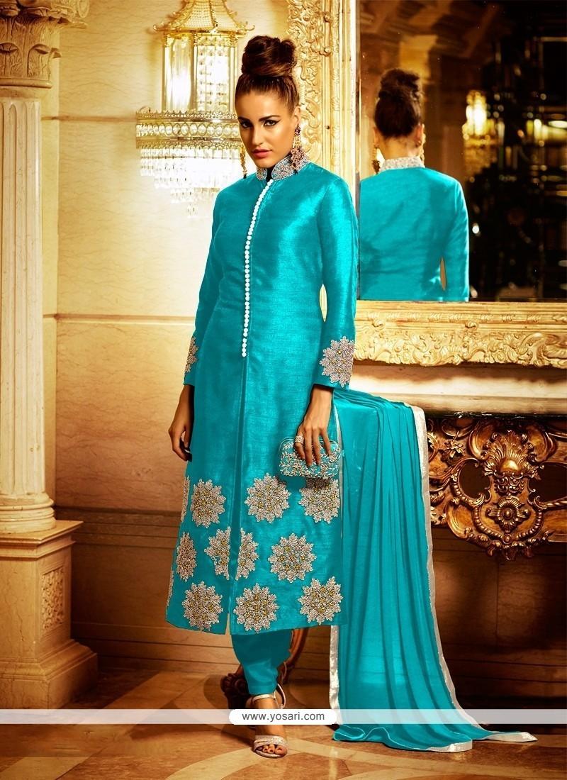 Alluring Turquoise Lace Work Bhagalpuri Silk Churidar Designer Suit