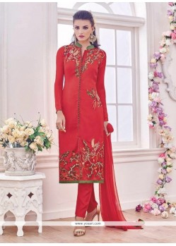 Tempting Red Resham Work Banglori Silk Designer Suit
