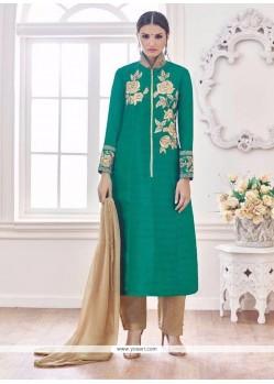 Zesty Banglori Silk Sea Green Embroidered Work Designer Suit