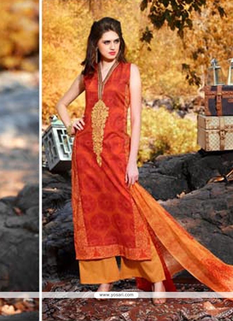 Tantalizing Orange Designer Palazzo Salwar Kameez