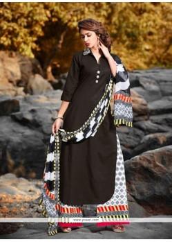 Zesty Black Cotton Designer Palazzo Salwar Kameez