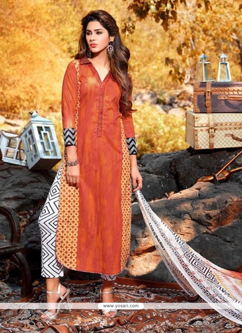 Divine Cotton Orange Print Work Designer Salwar Suit