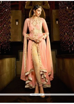 Beautiful Pink Embroidered Work Georgette Designer Suit