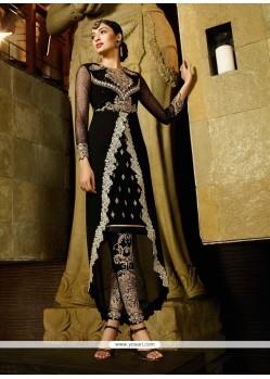Lustrous Georgette Black Resham Work Designer Suit
