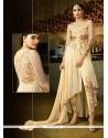 Charismatic Cream Embroidered Work Georgette Designer Suit
