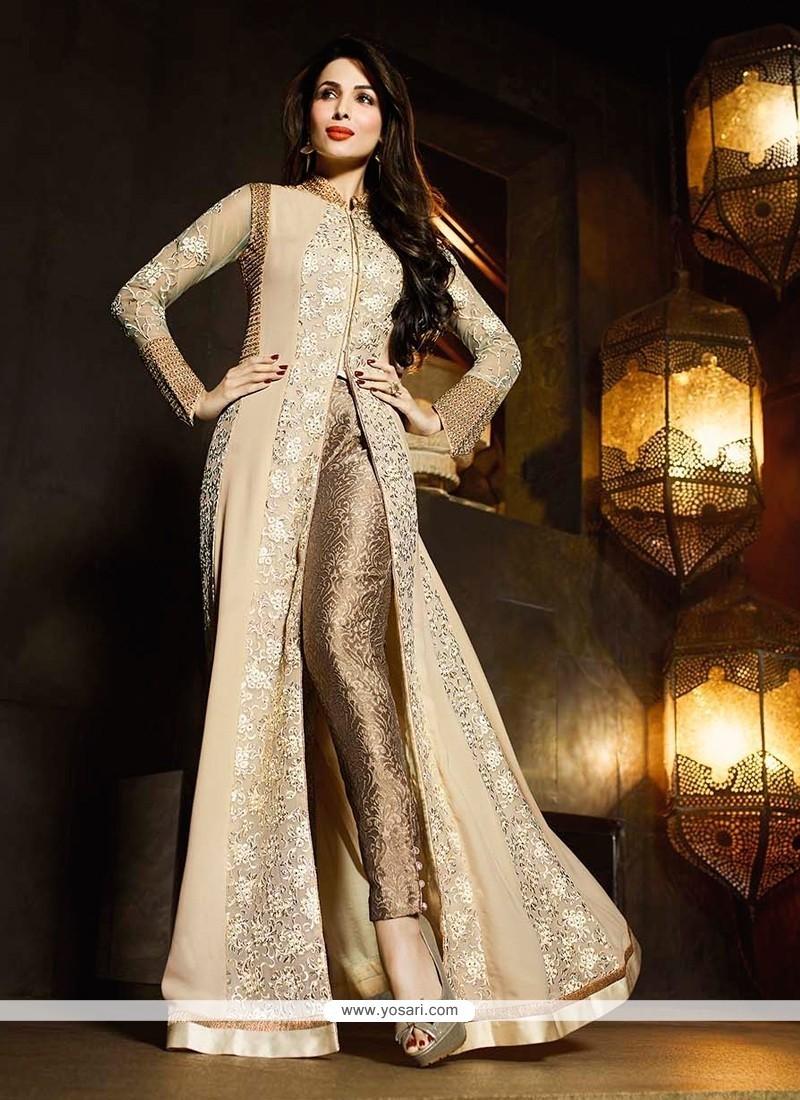 Malaika Arora Khan Beige And Cream Designer Suit