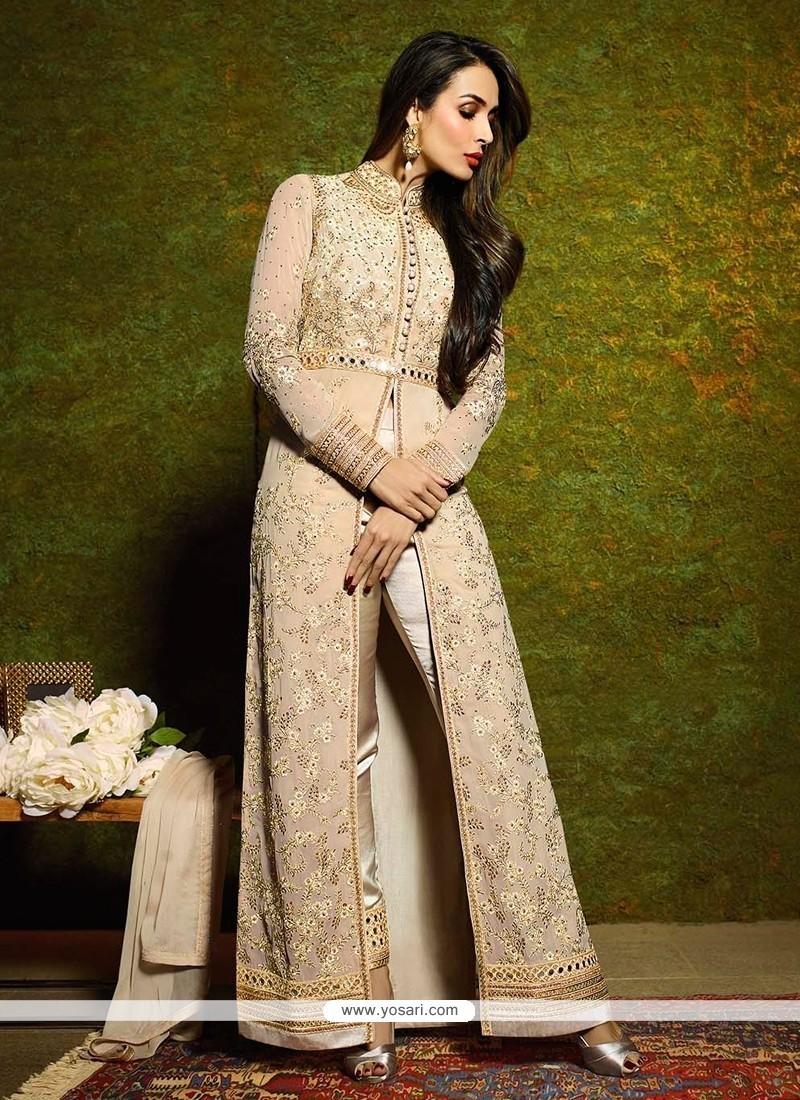 Malaika Arora Khan Cream Designer Suit