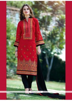 Aristocratic Patch Border Work Red Churidar Designer Suit