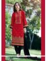 Aristocratic Patch Border Work Red Churidar Designer Suit